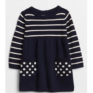 NWT Baby Gap Navy Blue & White Dress, Size 3-6 Mo